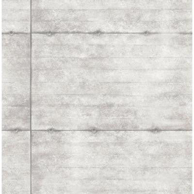 8 in. W x 10 in. H Light Grey Smooth Concrete Geometric Wallpaper Sample