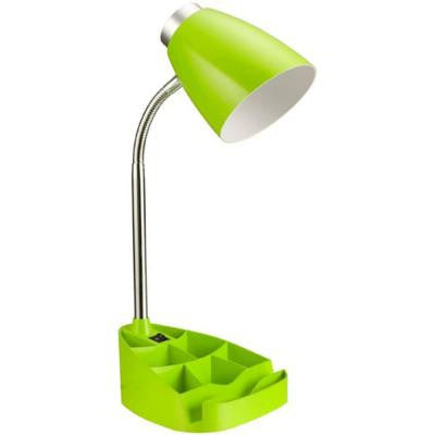 17.25 in. Neon Green Gooseneck Organizer Desk Lamp with iPad Tablet Stand Book Holder