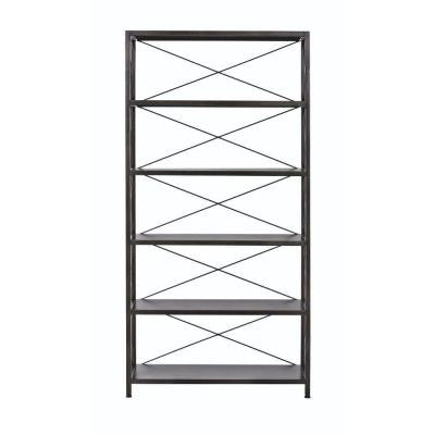 Ryan 5-Shelf Metal Open Bookcase in Burnished Black