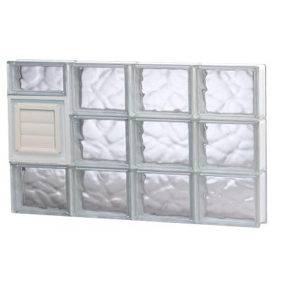 31 in. x 17.25 in. x 3.125 in. Wave Pattern Glass Block Window with Dryer Vent