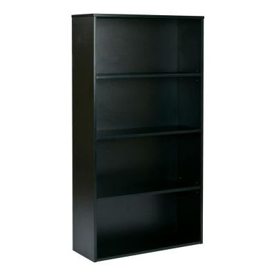 Prado 60 in. 4-Shelf Bookcase with 3/4 in. Shelves and 2 Adjustable/2 Fixed Shelves in Black