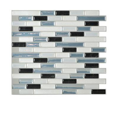 Muretto Brina 10.20 in. x 9.10 in. Self-Adhesive Decorative Wall Tile Backsplash in Blue, White