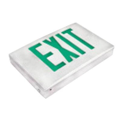Nexis 1-Light Thermoplastic LED Universal Mount White with Green Emergency Exit Sign
