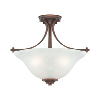 3-Light Rubbed Bronze Semi Flush Mount with India Scavo Glass