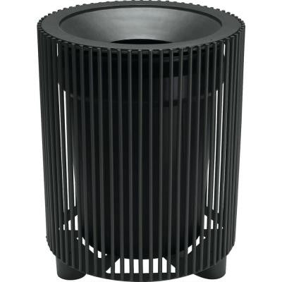 Grand Isle 32 Gal. Textured Black Contract Trash Can with Liner and Flat Top