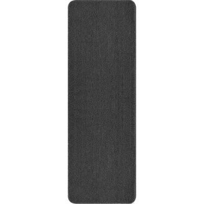 Solid Design Grey 2 ft. 2 in. x 6 ft. Non-Slip Bathroom Rug Runner