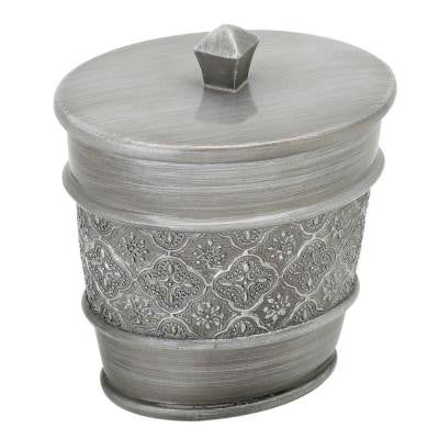 Gatsby Cotton Ball Holder in Antique Pewter