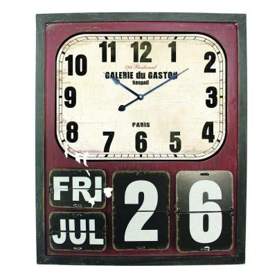 27.5 in. x 23 in. Rectangular MDF Wall Clock with Glass in Wooden Cherry Frame
