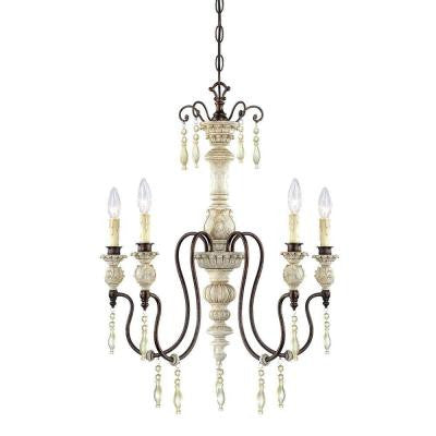 5-Lights Antique White/Bronze Chandelier