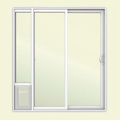 72 in. x 80 in. White Right Hand Vinyl Patio Door with Low-E Argon Glass and Large Pet Door