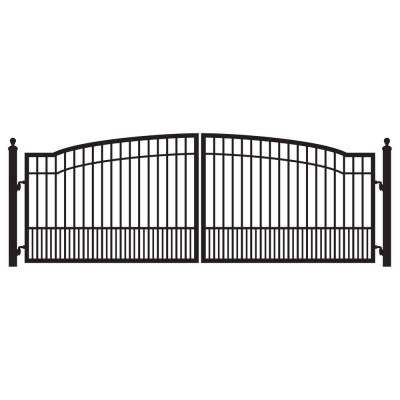 Biscayne 16 ft. x 5 ft. 8 in. Powder Coated Steel Dual Driveway Fence Gate