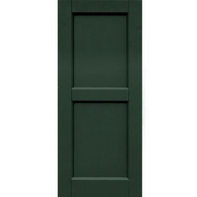 Wood Composite 15 in. x 36 in. Contemporary Flat Panel Shutters Pair #656 Rookwood Dark Green