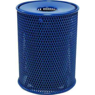 32 Gal. Blue Park Trash Can with Flat Lid