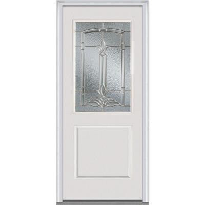 32 in. x 80 in. Bristol Decorative Glass 1/2 Lite 1-Panel Primed White Fiberglass Smooth Prehung Front Door