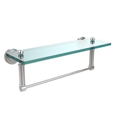 Dottingham 5 in. W x 16 in. L Glass Vanity Shelf with Integrated Towel Bar in Polished Chrome