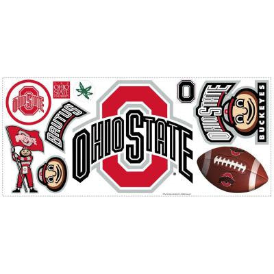 5 in. x 19 in. Ohio State Peel and Stick Giant Wall Decal with Hooks (10-Piece)