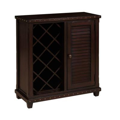 11-Bottle Wine Cage with Storage Cabinet in Brown
