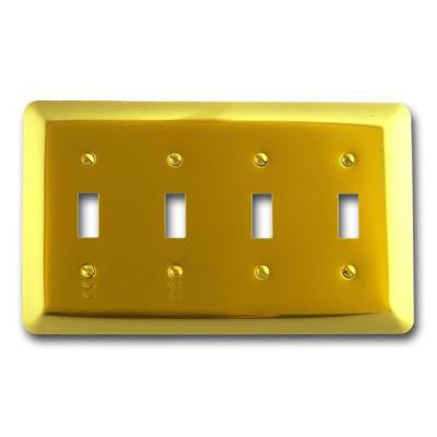 Steel 4 Toggle Wall Plate - Bright Brass