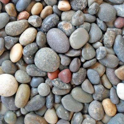 0.25 cu. ft. 20 lb. 1/4 in. - 1/2 in. Unpolished Mixed Mexican Beach Pebble Bag (20-Pack Pallet)