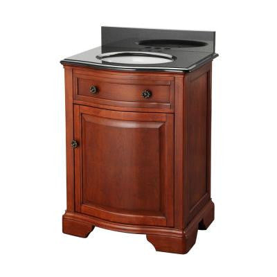 Manchester 25 in. Vanity in Mahogany with Granite Vanity Top in Black