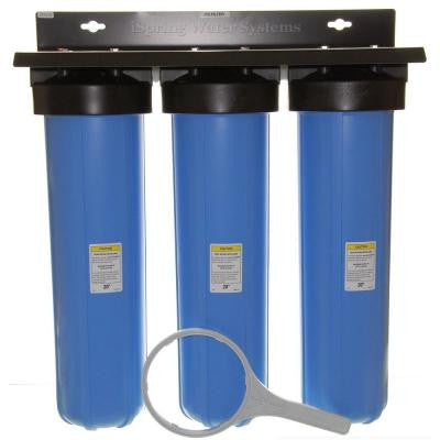 LittleWell 3-Stage 100,000 Gal. Big Blue Whole House Water Filter with Sediment, Iron and Manganese, Fine Carbon Block