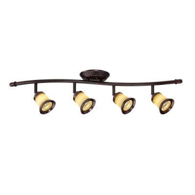 4-Light Antique Bronze Track Lighting with Wave Bar Fixture