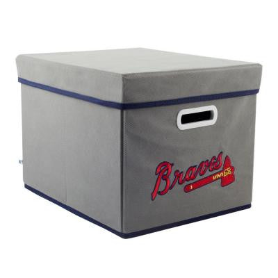 MLB STACKITS Atlanta Braves 12 in. x 10 in. x 15 in. Stackable Grey Fabric Storage Cube
