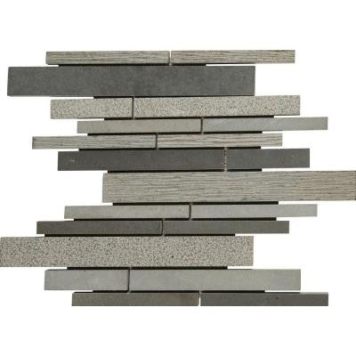 Mystic Grey Interlocking 12 in. x 12 in. x 10 mm Basalt Mesh-Mounted Mosaic Tile