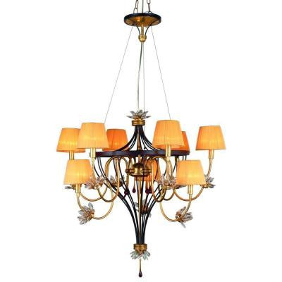 Festina Collection 9-Light Gold Leaf and Ebony Hanging Chandelier