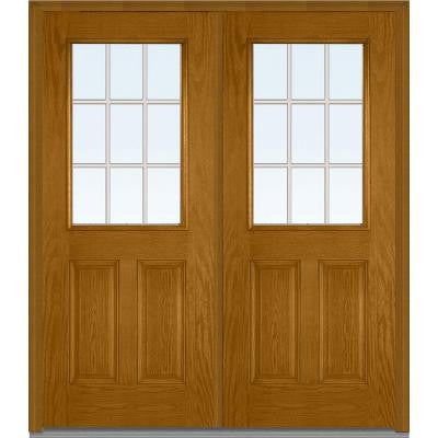 72 in. x 80 in. Classic Clear Glass GBG 1/2 Lite Finished Oak Fiberglass Double Prehung Front Door