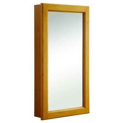Claremont 16 in. W Mirrored Medicine Cabinet in Honey Oak