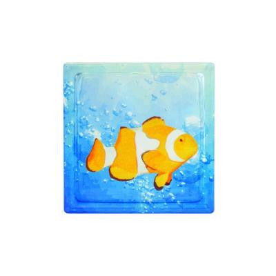 8 in. x 8 in. x 4 in. Clown Fish in Water Art Glass Blocks