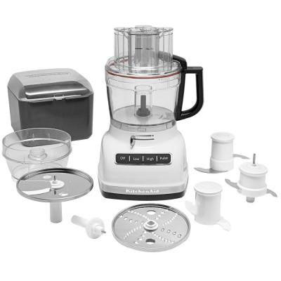 ExactSlice 11-Cup Food Processor with External Adjustable Lever in White