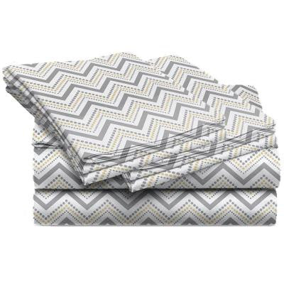 Jill Morgan Fashion Printed Chevron Straw Microfiber Queen Sheet Set (4-Piece)
