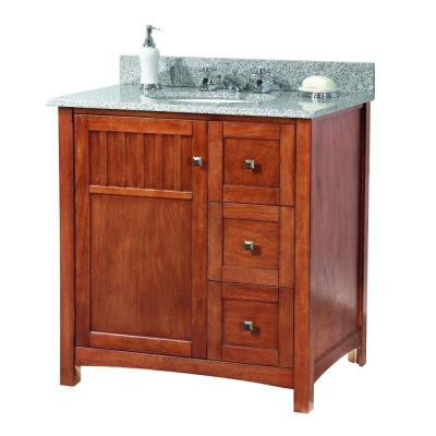 Knoxville 31 in. W x 22 in. D Vanity in Nutmeg with Granite Vanity Top in Rushmore Grey with White Basin