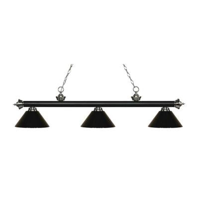 Anders 3-Light Matte Black and Brushed Nickel Island Light with Black Shades