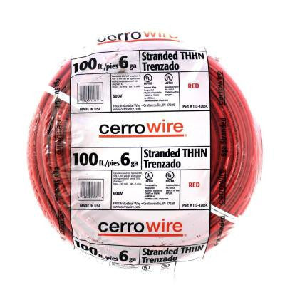 100 ft. 6-Gauge Stranded THHN Wire - Red