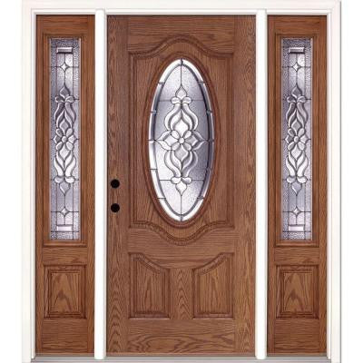 67.5 in. x 81.625 in. Lakewood Zinc 3/4 Oval Lite Stained Medium Oak Fiberglass Prehung Front Door with Sidelites