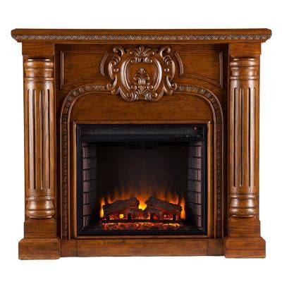 William 45.25 in. Freestanding Electric Fireplace in Salem Antique Oak
