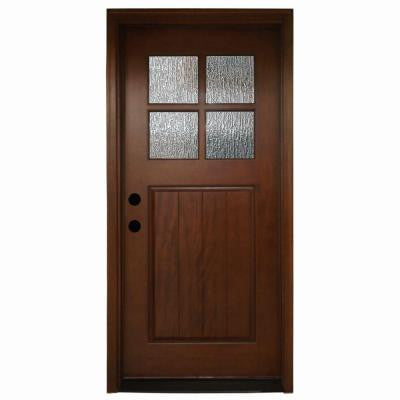 36 in. x 80 in. Cottage 4 Lite Rain Stained Mahogany Prehung Front Door