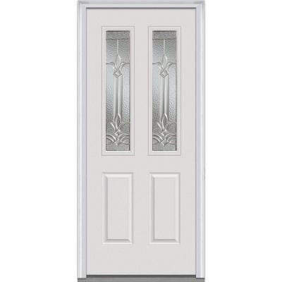 32 in. x 80 in. Bristol Decorative Glass 2 Lite 2-Panel Primed White Majestic Steel Prehung Front Door