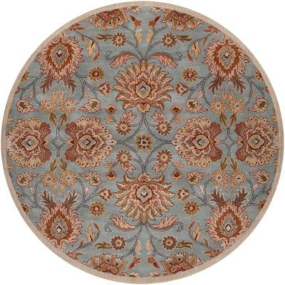 Artes Sky Blue 4 ft. Round Area Rug