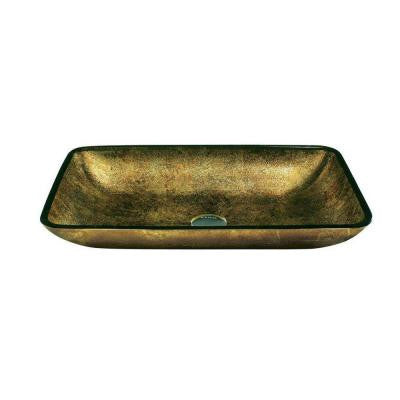 Vessel Sink and Faucet Set in Brown and Copper