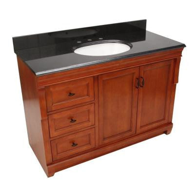 Naples 49 in. W x 22 in. D Vanity with Left Drawers in Warm Cinnamon with Granite Vanity Top in Black