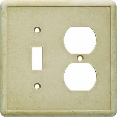 1 Toggle and 1 Duplex Combination Wall Plate - Travertine