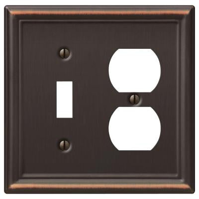 Chelsea 1 Toggle and 1 Duplex Wall Plate - Aged Bronze