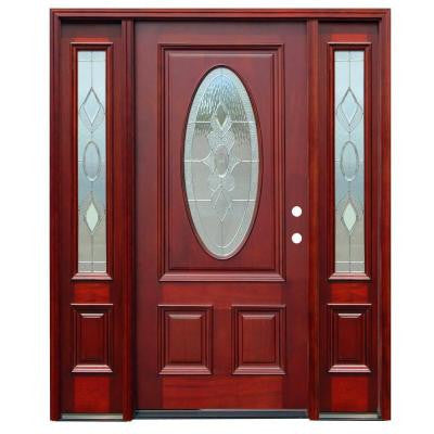 70in.x80in. Traditional 3/4 Arch Lite Stained Mahogany Wood Prehung Front Door w/6 in. Wall Series and 14 in. Sidelites