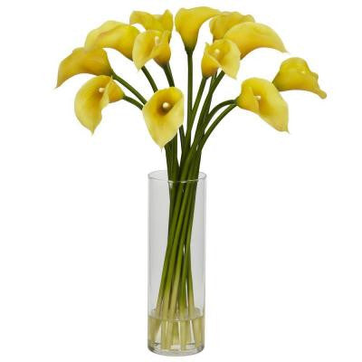 20 in. H Yellow Mini Calla Lily Silk Flower Arrangement
