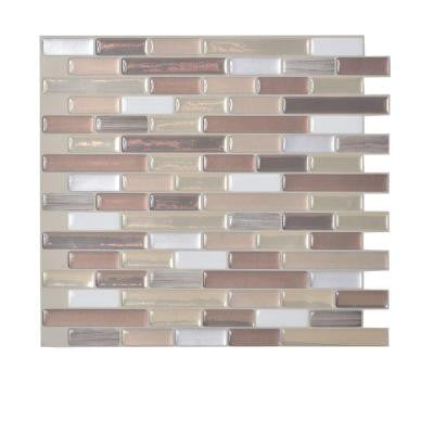 Muretto Durango 10.20 in. x 9.10 in. Peel and Stick Mosaic Decorative Wall Tile Backsplash in Beige (12-Piece)