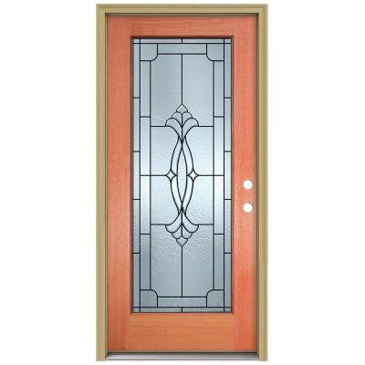 36 in. x 80 in. Champagne Full Lite Unfinished Mahogany Wood Prehung Front Door with Brickmould and Patina Caming